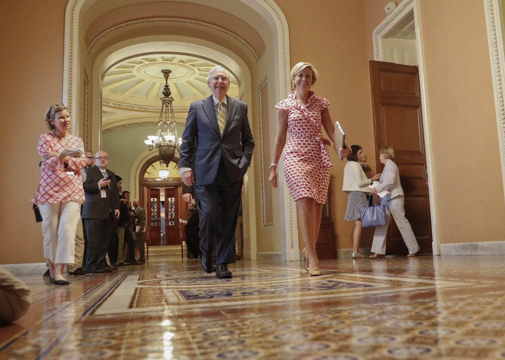 Senate Majority Leader Mitch McConnell walks to his office on Capitol Hill in Washington Thursday. (Pablo Martinez Monsivais/AP)