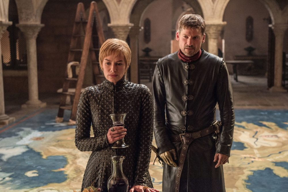 "This image released by HBO shows Lena Headey, left, and Nikolaj Coster-Waldau in ""Game of Thrones,"" which premiered its seventh season on Sunday, July 16. (Helen Sloan/AP)"
