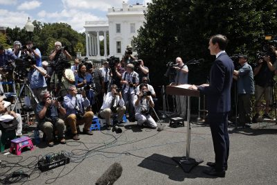 White House senior adviser Jared Kushner speaks to the media outside the White House in Washington, Monday, July 24, 2017, after meeting behind closed doors with the Senate Intelligence Committee on the investigation into possible collusion between Russian officials and the Trump campaign. (AP Photo/Jacquelyn Martin)