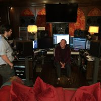 "Matt Schrader (left) and composer Hans Zimmer during the filming of ""Score."" (Gravitas Ventures)"