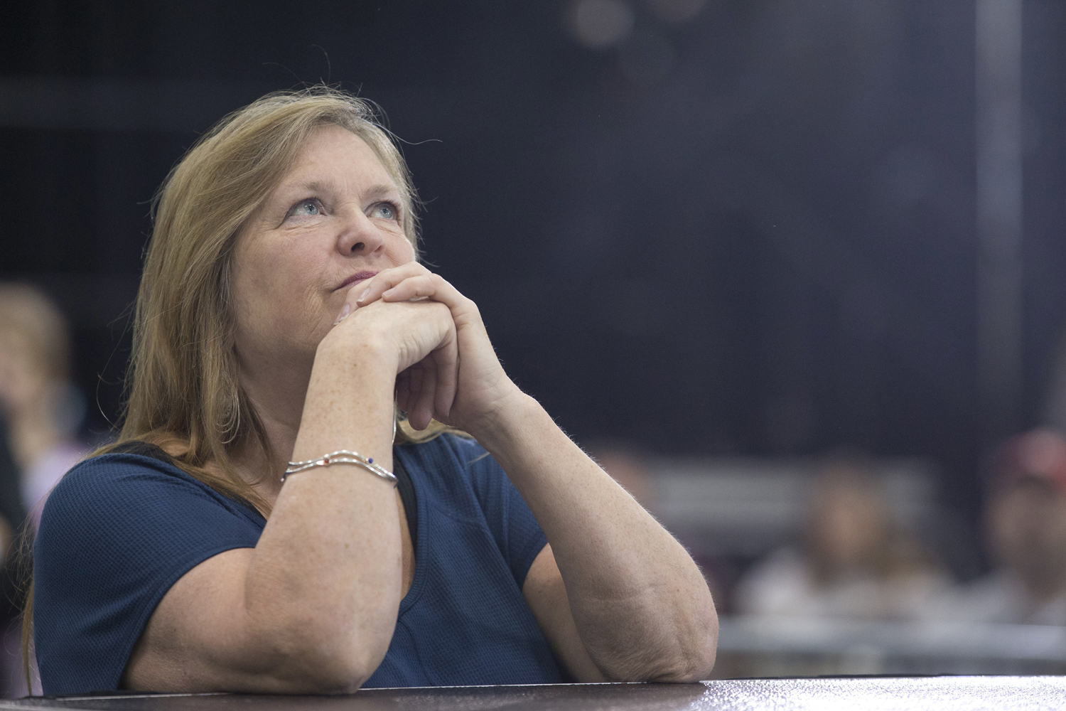 Jane Sanders, wife of Sen. Bernie Sanders, listens as he speaks during a campaign rally in Erie, Pa., Tuesday, April 19, 2016. (Mary Altaffer/AP)