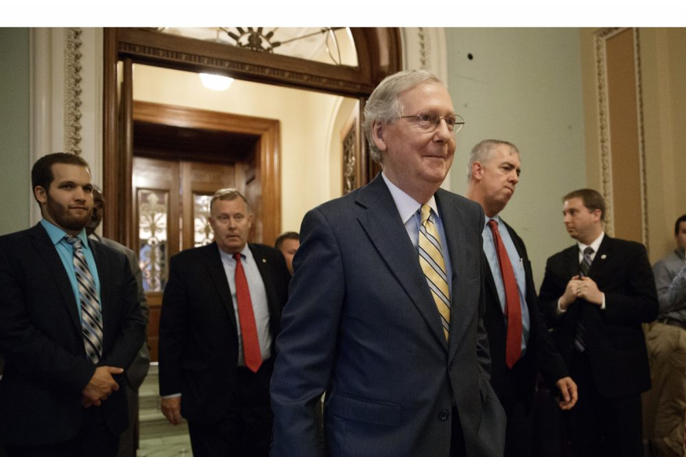 Senate Majority Leader Mitch McConnell of Ky. leaves the Senate chamber on Thursday, after announcing the revised version of the Republican health care bill. (J. Scott Applewhite/AP)