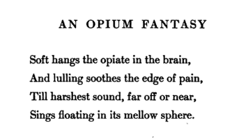 "The first stanza of ""An Opium Fantasy"""