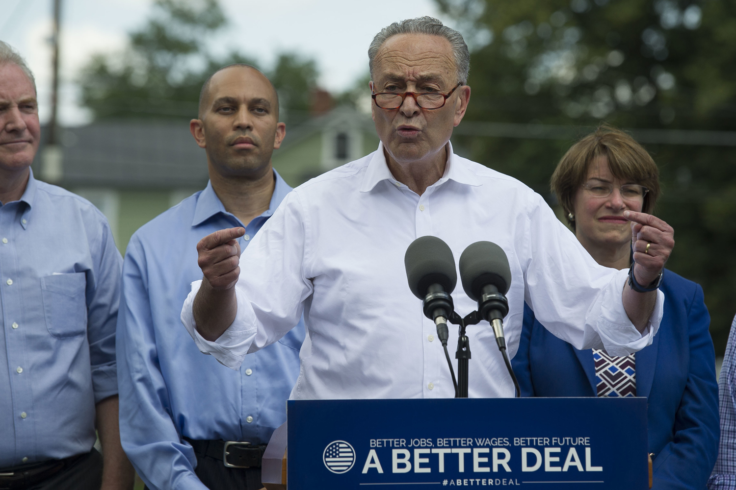 Senate Minority Leader Chuck Schumer of N.Y., accompanied by Congressional Democrats, speaks in Berryville, Va., Monday, July 24, 2017, to unveil their new agenda. (Cliff Owen/AP)