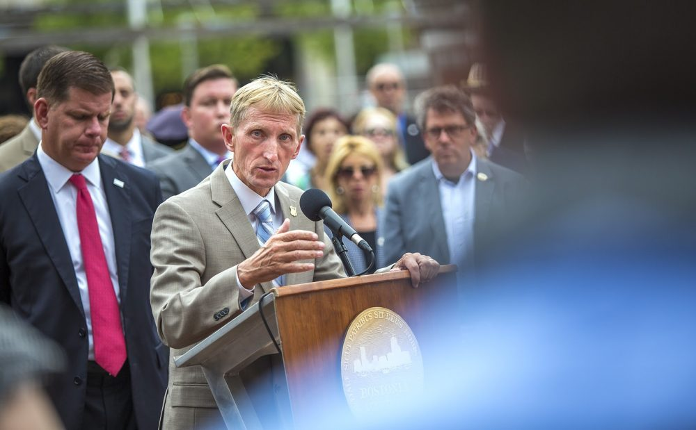 Boston Police Commissioner William Evans speaks during a press conference Monday, during which city and state officials called for organizers behind a controversial free speech rally set for Saturday in Boston to reschedule their event in light of the violence in Charlottesville. (Jesse Costa/WBUR)