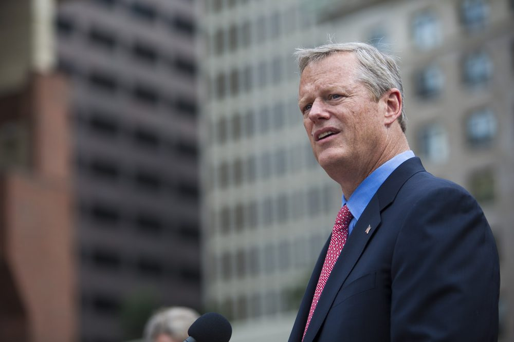 Gov. Charlie Baker speaks to the media during an August 2017 press conference. (Jesse Costa/WBUR)