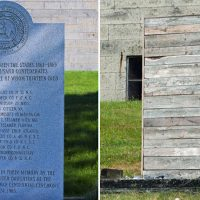 The memorial for Confederate soldiers on Georges Island -- seen on the left before it was covered, and on the right after it was boarded up. (Courtesy Ron Cogswell/Flickr and Adam Gaffin)