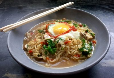 Emma Rudolph's easy upgraded ramen. (Kathy Gunst for Here & Now)