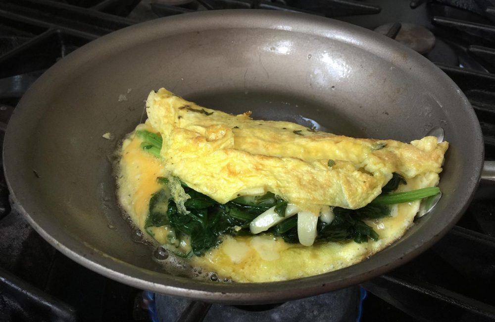 Kathy's spinach and cheese omelette. (Kathy Gunst for Here & Now)