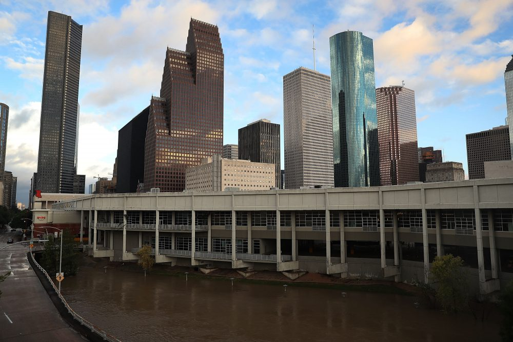 The Houston skyline is seen after the area was inundated with flooding from Hurricane Harvey on Aug. 29, 2017. (Joe Raedle/Getty Images)