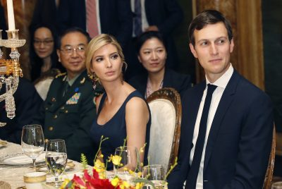In this Thursday, April 6, 2017, file photo, Ivanka Trump, second from right, the daughter and assistant to President Donald Trump, is seated with her husband White House senior adviser Jared Kushner, right, during a dinner with President Donald Trump and Chinese President Xi Jinping, at Mar-a-Lago, in Palm Beach, Fla. (Alex Brandon/AP)