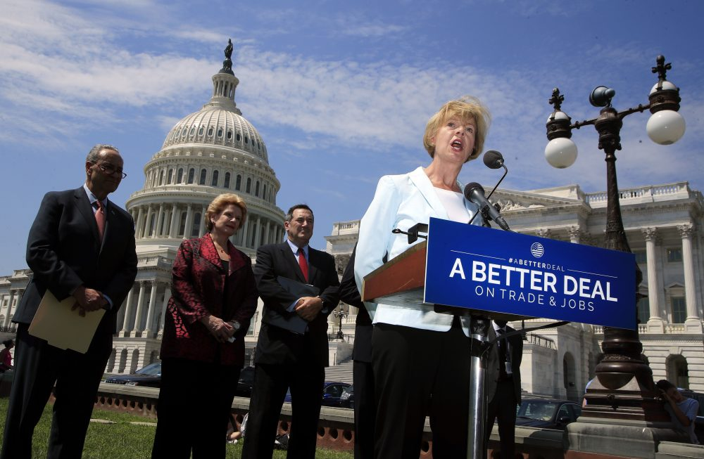 "Sen. Tammy Baldwin, D-Wis., right, accompanied by, from left, Senate Minority Leader Chuck Schumer of N.Y., Sen. Debbie Stabenow, D-Mich., and Sen. Bob Casey, D-Pa., speaks on Capitol Hill in Washington, Wednesday, Aug. 2, 2017, to unveil ""A Better Deal On Trade and Jobs,"" to put American workers first and fight back against companies that outsource jobs and countries that manipulate trade laws. (Manuel Balce Ceneta/AP)"