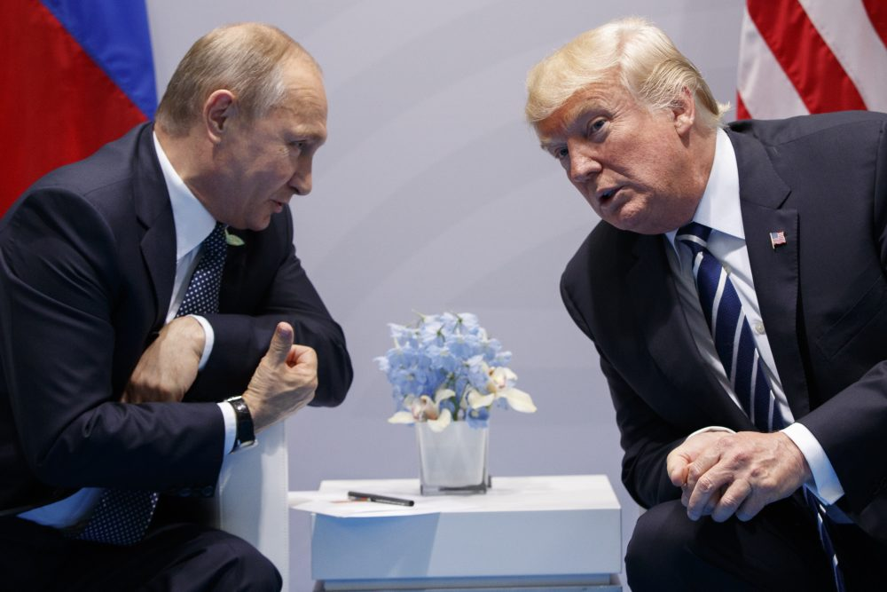 "In this July 7 file photo, President Trump meets with Russian President Vladimir Putin at the G-20 Summit in Hamburg. On Aug. 2, Trump signed a bill he called ""seriously flawed"" that imposes new sanctions on Russia. (Evan Vucci/AP)"