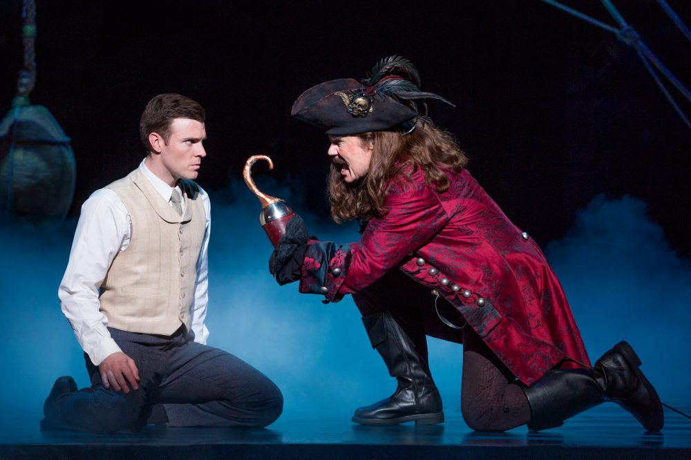 "J.M. Barrie (Billy Harrigan Tighe) faces his creation Captain Hook (John Davidson) in ""Finding Neverland."" (Courtesy Jeremy Daniel)"