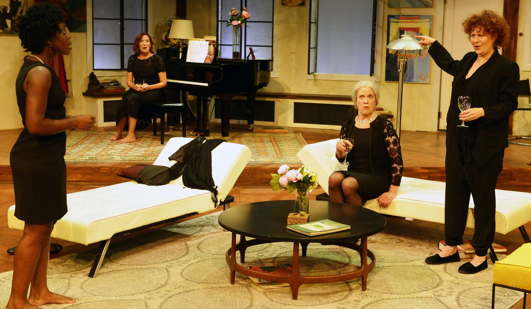 "From left to right, Obehi Janice, Sarah Hickler, Debra Wise and Paula Plum in Gloucester Stage Company's production of ""Out of the Mouths of Babes."" (Courtesy Gary Ng)"