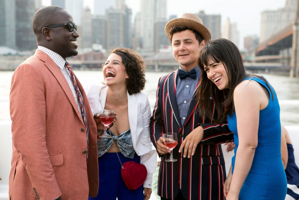 "Left to right, Hannibal Buress, Ilana Glazer, Arturo Castro and Abbi Jacobson during production of ""Broad City."" (Courtesy of Matthew Peyton for Comedy Central)"