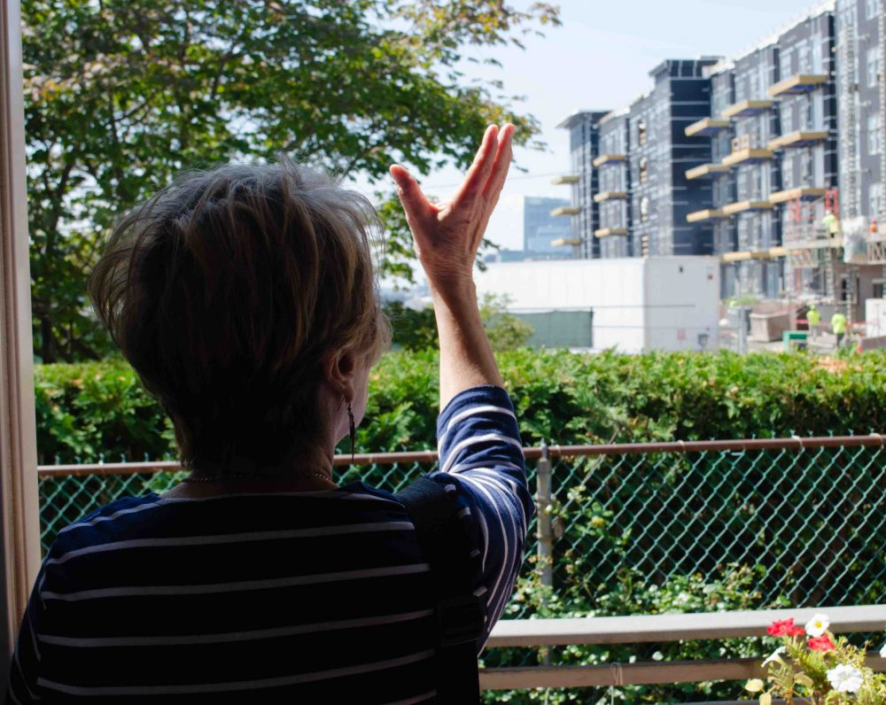 Modica shows the view out the back of her house where development has obscured the once-clear view she had across the harbor to the Boston waterfront. (Elizabeth Gillis/WBUR)