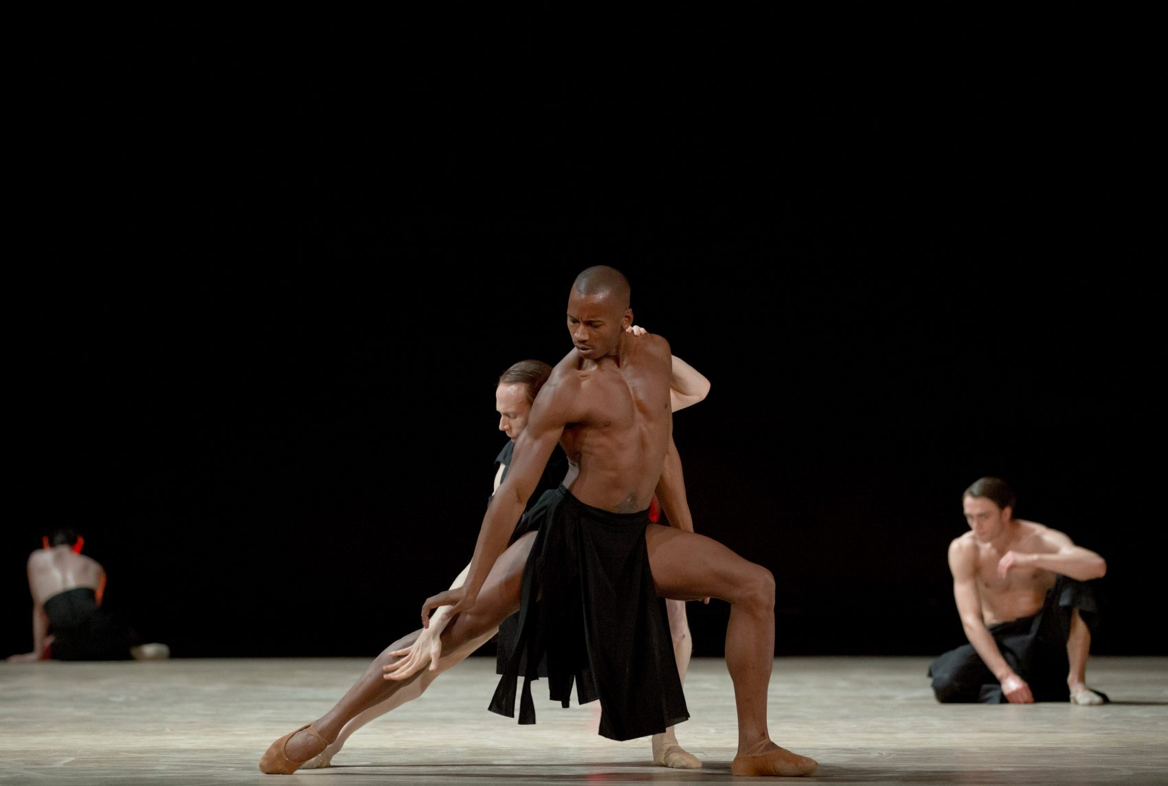 "Royal Ballet principal dancer Edward Watson and soloist Eric Underwood in Wayne McGregor's ""Obsidian Tear,"" which is coming to Boston this season. (Courtesy Andrej Uspenski/The Royal Ballet)"
