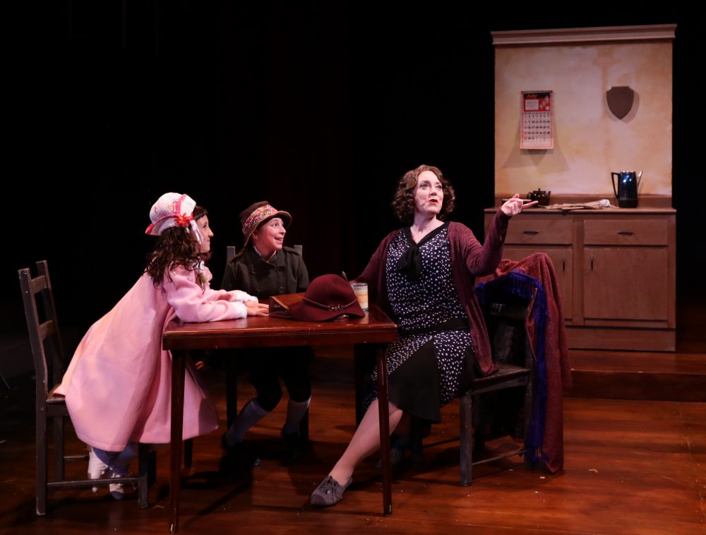 Leigh Barrett (Mama Rose) with Margot Anderson-Song (Baby June) and Cate Galante (young Louise). (Courtesy Mark S. Howard/Lyric Stage Company)