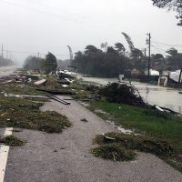 Debris is shown strewn along a roadway in the wake of powerful Hurricane Irma on Sept. 11, 2017 in Isamorada, a village encompassing six of the Florida Keys. (Marc Serota/Getty Images)