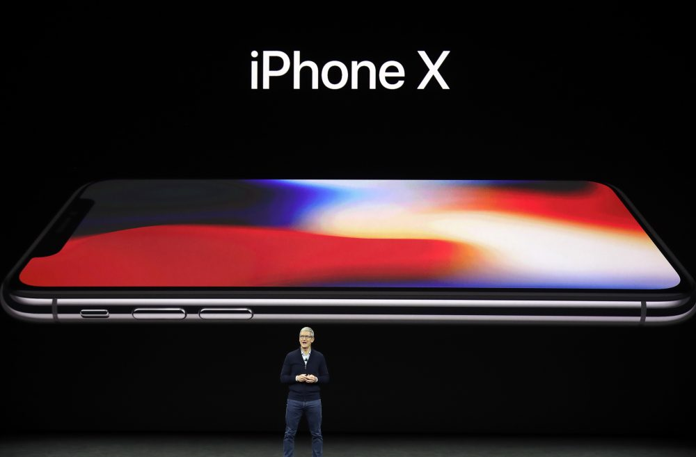 Apple CEO Tim Cook announces the new iPhone X at the Steve Jobs Theater on the new Apple campus on Tuesday in Cupertino, Calif. (Marco Jose Sanchez/AP)