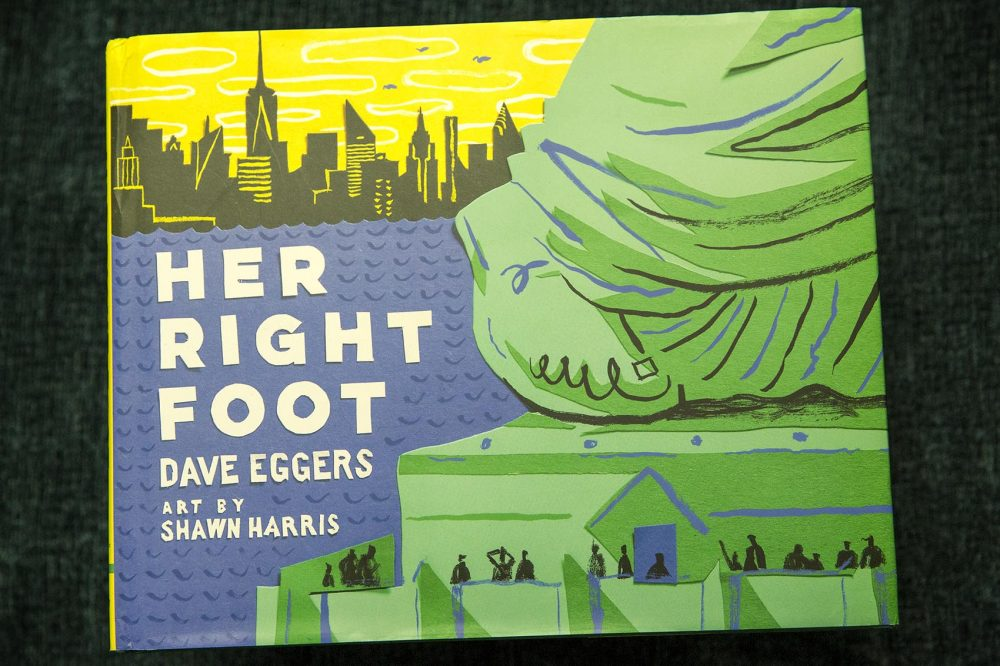 """Her Right Foot,"" by Dave Eggers, art by Shawn Harris. (Robin Lubbock/WBUR)"