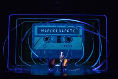 """WARHOLCAPOTE"" at the American Repertory Theater. (Courtesy of Gretjen Helene/A.R.T.)"