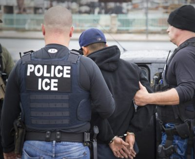 A foreign national is arrested in Feb. 2017 during a targeted enforcement operation conducted by U.S. Immigration and Customs Enforcement (ICE) aimed at immigration fugitives, re-entrants and at-large criminal aliens in Los Angeles (Charles Reed/U.S. Immigration and Customs Enforcement via AP)