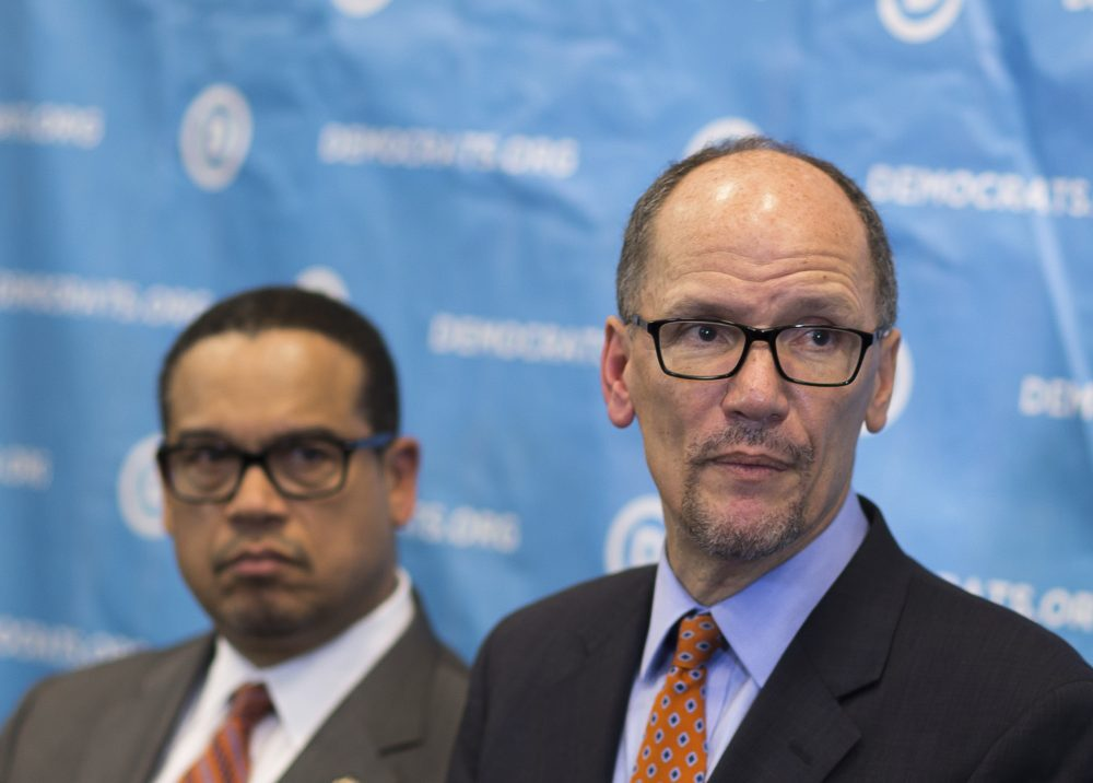Newly elected Democratic National Committee Chairman Tom Perez, right, and Rep. Keith Ellison, D-Minn., who was named deputy chairman, listen to a question from the media during a press conference at the DNC winter meeting in Atlanta, Saturday, Feb. 25, 2017. (Branden Camp/AP)
