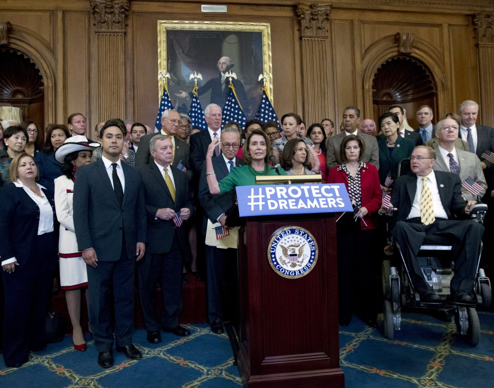 House and Senate Democrats gather on Capital Hill, on Wednesday, Sept. 6, 2017, to call for Congressional Republicans to stand up to President Trump's decision to terminate the DACA initiative by bringing the DREAM Act for a vote on the House and Senate Floor. (Jose Luis Magana/AP)