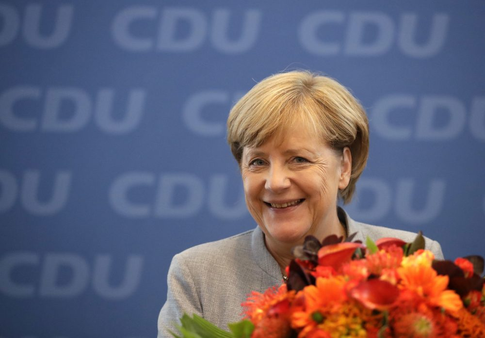 German Chancellor Angela Merkel smiles prior to a board meeting of the Christian Democratic Union CDU in Berlin, Germany, Monday, Sept. 25, 2017, the day after the German parliament election. (Matthias Schrader/AP)