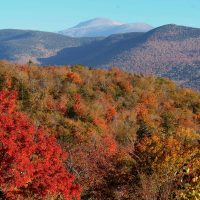 The Presidential Range is see as leaves begin to change color in the White Mountain National Forest in this photo taken from Hart's Location, N.H., Wednesday, Oct. 9, 2013. (Jim Cole/AP)