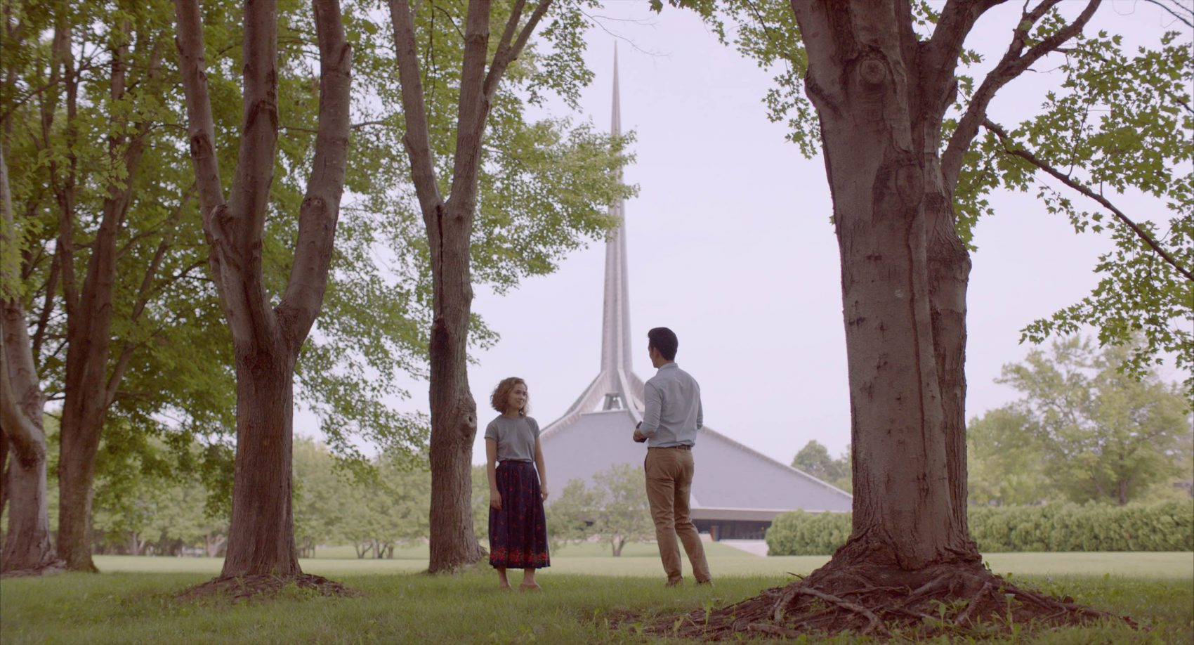 "Haley Lu Richardson and John Cho star in ""Columbus,"" playing at the Brattle Theatre. The building in the background is the North Christian Church by architect Eero Saarinen.  (Courtesy Elisha Christian)"