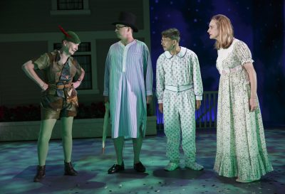 "From left to right, Kathleen Chalfant, Daniel Jenkins, Keith Reddin and Lisa Emery in ""For Peter Pan on her 70th Birthday."" (Joan Marcus)"
