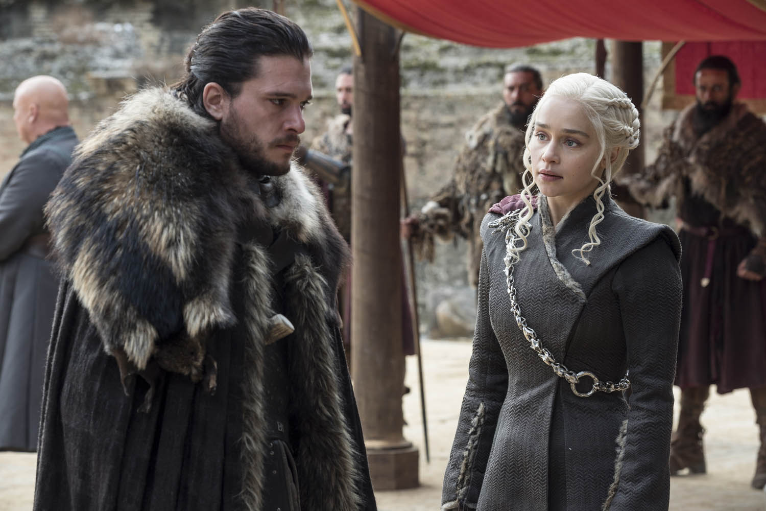 "Kit Harington, left, and Emilia Clarke on the season finale of ""Game of Thrones."" (Macall B. Polay/HBO)"