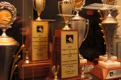 Power of the Pen trophies at Gahanna Middle School East. (Martin Kessler/Only A Game)