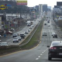 Traffic heading northbound on the William McClellan Highway during the early evening commute. (Jesse Costa/WBUR)