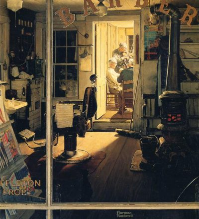 "A closeup of Norman Rockwell's ""Shuffleton's Barbershop."""