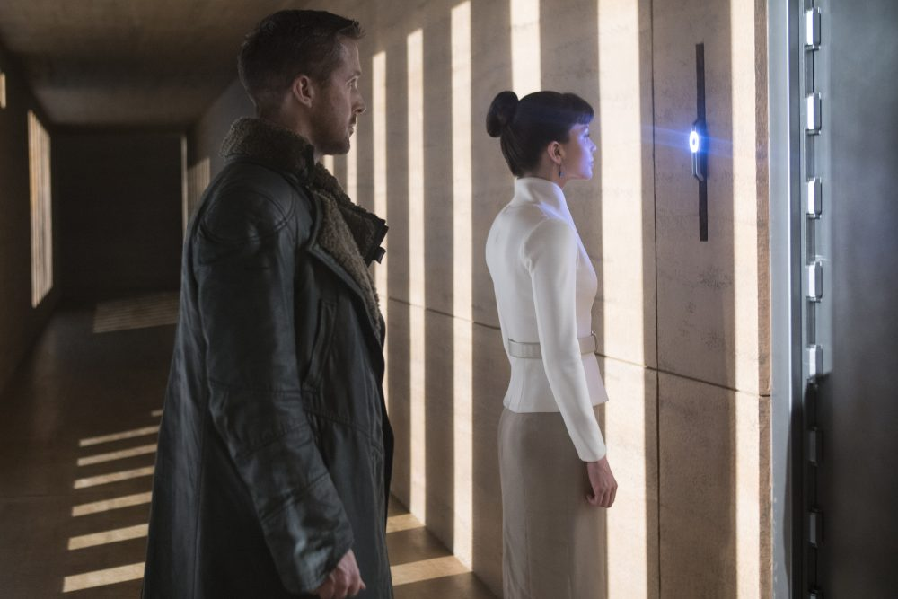 "Ryan Gosling as K and Sylvia Hoeks as Luv in ""Blade Runner 2049."" (Courtesy Stephen Vaughan/Alcon Entertainment)"
