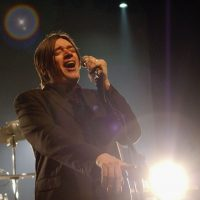 Blixa Bargeld of Einsturzende Neubauten performs at the Kentish Town Forum on April 5, 2005 in London. (Jim Dyson/Getty Images)