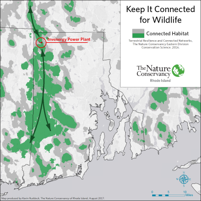 A map showing the western Rhode Island wildlife corridor and the location of the proposed power plant. (Courtesy The Nature Conservancy Of Rhode Island)