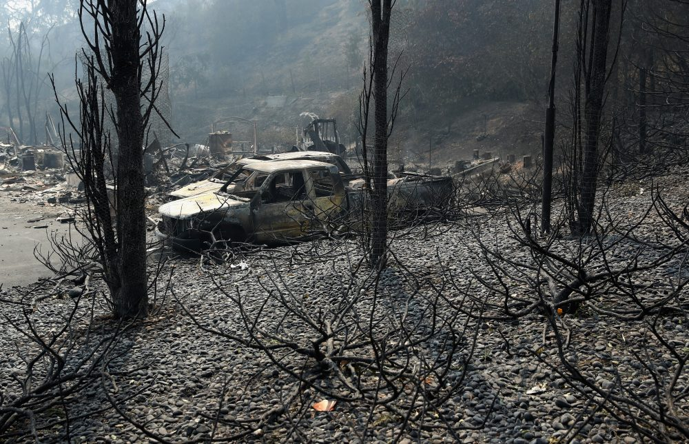 A view of the remains of homes that were destroyed by the Atlas Fire on Oct. 10, 2017 in Napa, Calif. (Ezra Shaw/Getty Images)