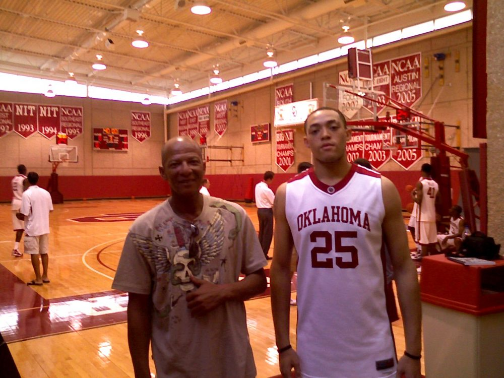 Kyle Hardrick (right) enrolled at Oklahoma in 2009. Here he is with his father. (Courtesy Valerie Hardrick)