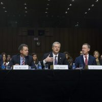 Governors from left; Bill Haslam of Tennessee, Steve Bullock of Montana, Charlie Baker of Massachusetts, John Hickenlooper of Colorado and Gary Herbert of Utah speak during the Senate Health, Education, Labor, and Pensions Committee hearing to discuss ways to stabilize health insurance markets​, on Capitol Hill in Washington, Thursday, Sept. 7, 2017. (Jose Luis Magana/AP)