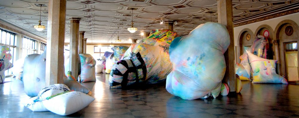 Claire Ashley's inflatable sculptures at Boston University's 808 Gallery. (Greg Cook/WBUR)