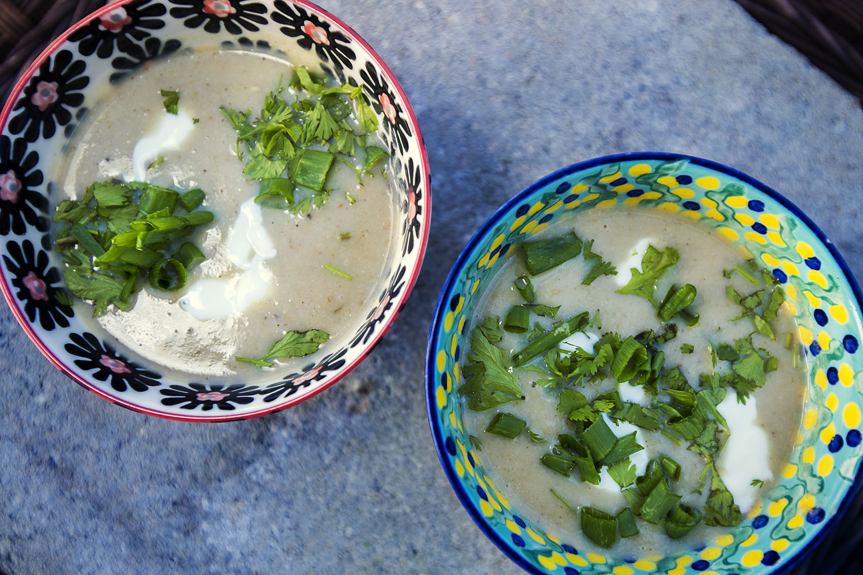 Kathy's Indian spiced cauliflower soup with coconut milk. (Jesse Costa/WBUR)