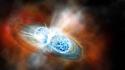 An artist's concept of the explosive collision of two neutron stars. (Robin Dienel/The Carnegie Institution for Science)