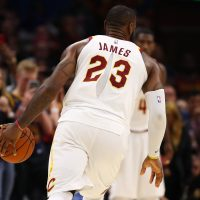 LeBron James played with a ripped jersey on Tuesday. (Gregory Shamus/Getty Images)