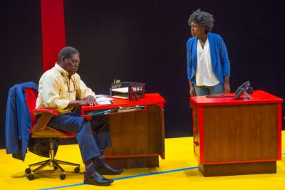"Johnny Lee Davenport as the professor and Obehi Janice as Carol in New Rep's ""Oleanna."" (Courtesy Andrew Brilliant/Brilliant Pictures)"
