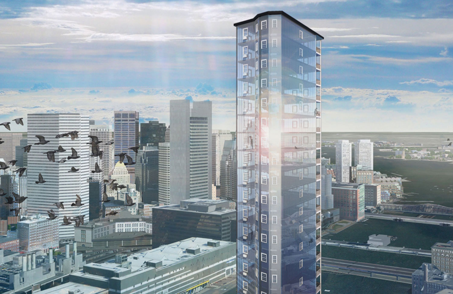 "Architectural rendering of Pat Falco's proposed ""Luxury Waters"" condo tower. (Courtesy Pat Falco)"